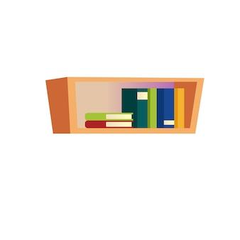 Conceito de ilustração vetorial de diferentes livros de desenho plano na prateleira, móveis e elementos interiores