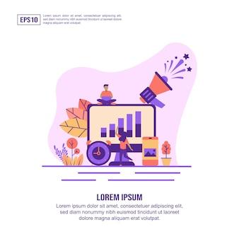 Conceito de ilustração vetorial de marketing on-line