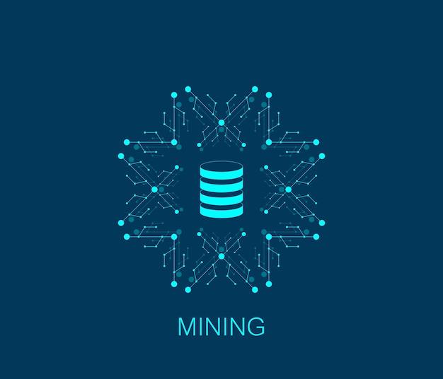 Conceito de ilustração vetorial de mineração de dados, logotipo, ícone, símbolo.