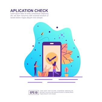 Conceito de ilustração vetorial de verificação de aplicativo