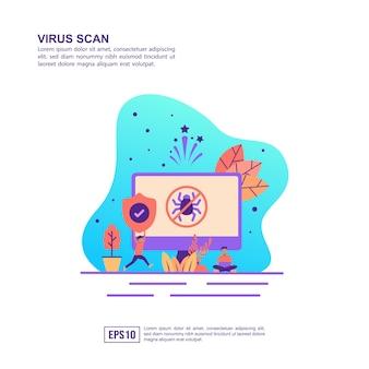Conceito de ilustração vetorial de verificação de vírus