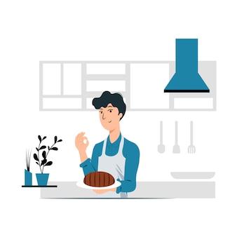 Conceito de ilustração vetorial design gráfico de um homem fazer cookingt.