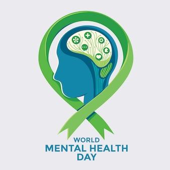 Conceito de ilustração vetorial do dia mundial da saúde mental. Vetor Premium
