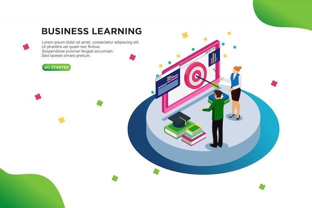 Conceito de ilustração vetorial isométrica de aprendizagem de negócios