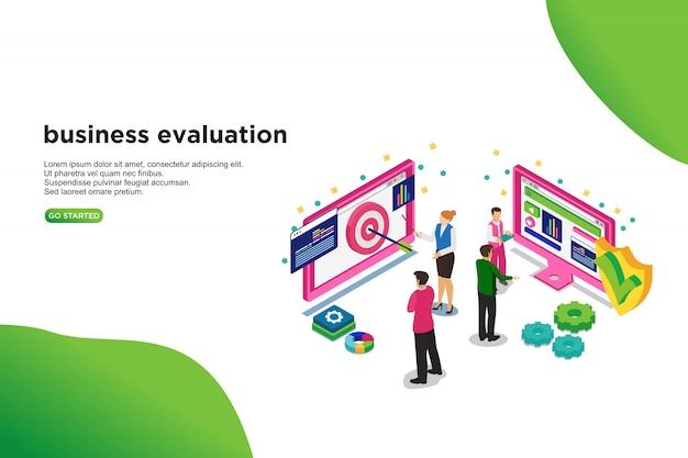 Conceito de ilustração vetorial isométrica de avaliação de negócios