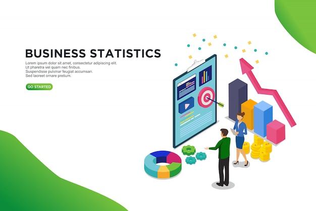 Conceito de ilustração vetorial isométrica de estatística de negócios