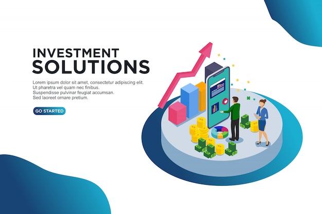Conceito de ilustração vetorial isométrica de soluções de investimento.