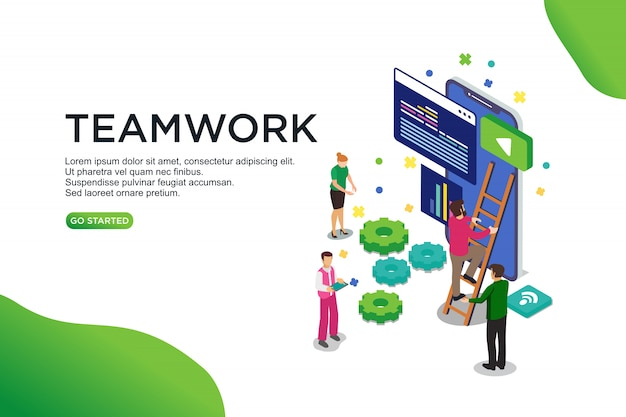 Conceito de ilustração vetorial isométrica de trabalho em equipe