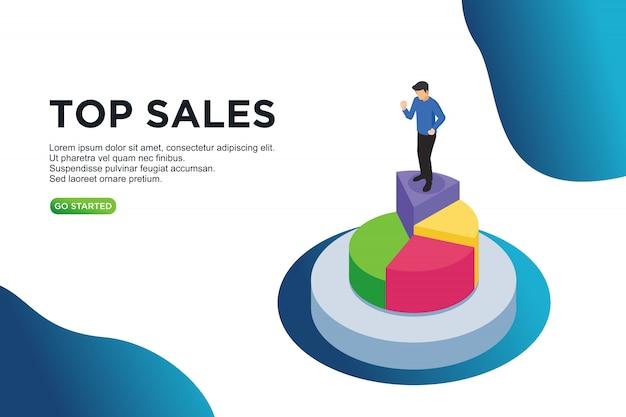 Conceito de ilustração vetorial isométrica de vendas superior