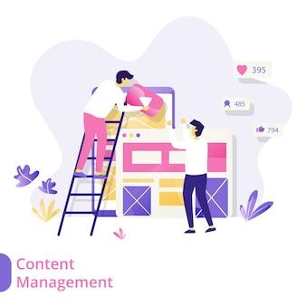 Conceito de ilustração vetorial landing page content management, homens colaborando para criar conteúdo