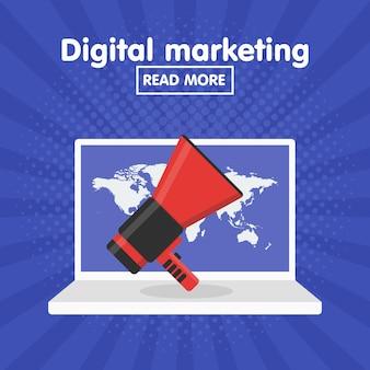 Conceito de ilustração vetorial para marketing digital envolvendo as partes interessadas usando tecnologia