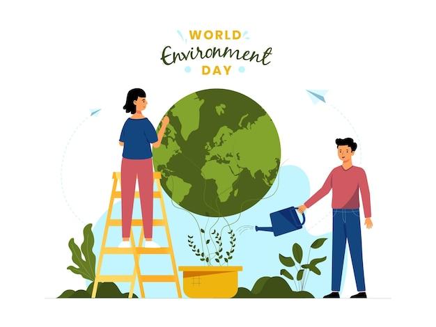 Conceito de ilustração vetorial para o dia mundial do meio ambiente, com personagens masculinos e femininos trabalhando juntos para proteger e cuidar da terra