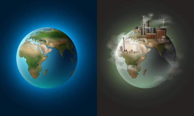 Conceito de ilustração vetorial planeta limpo ecológico contra poluição ambiental