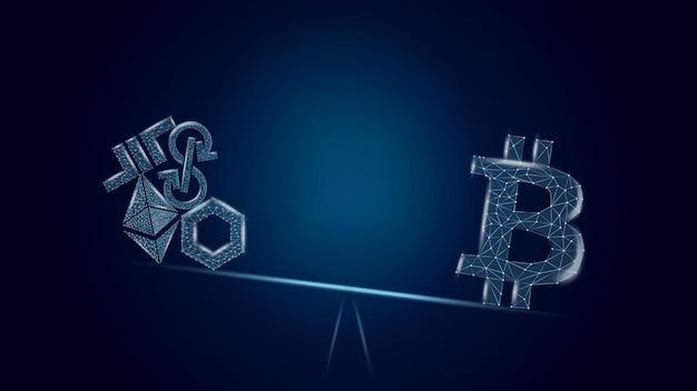 Conceito de ilustração vetorial vantagens de bitcoin sobre altcoins em um fundo azul escuro. o btc na balança supera um monte de moedas diferentes. símbolo wireframe bitcoin.