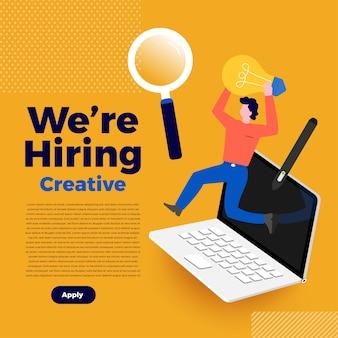 Conceito de ilustrações que estamos contratando. anuncie a procura de um funcionário e recrute outro para a empresa ilustrar.