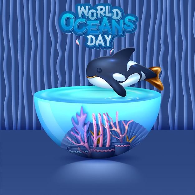 Conceito de imagem do mundo 3d dia dos oceanos. ambiente natural. ilustração