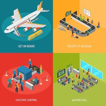 Conceito de imagens de aeroporto 2x2