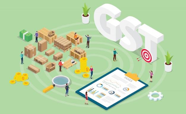 Conceito de imposto de serviços de bens gst com gráfico de gráfico de pessoas e finanças de equipe com estilo isométrico moderno