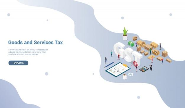 Conceito de imposto de serviços de mercadorias gst para o modelo de site ou página inicial de destino