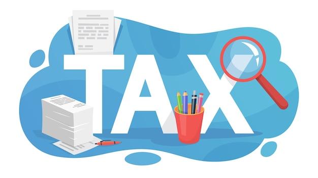 Conceito de imposto. ideia de contabilidade e pagamento. financeiro