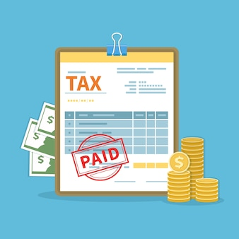 Conceito de imposto pago. governo, impostos estaduais. cálculo financeiro, dívida. formulário de imposto, dinheiro, moedas de ouro, selo. ícone do dia de pagamento.