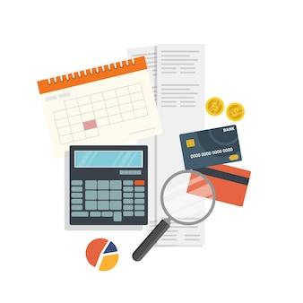Conceito de impostos e pagamentos de finanças pessoais