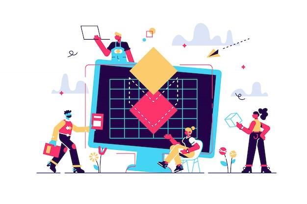 Conceito de impressão 3d, projeção, estudantes, trabalhadores, engenharia, trabalho em equipe. computador desktop com modelo digital 3d