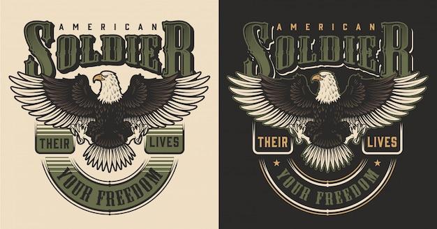 Conceito de impressão de t-shirt militar