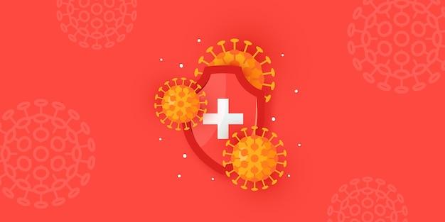 Conceito de imunidade. horizontal médica para clínicas, hospitais, sites de saúde.