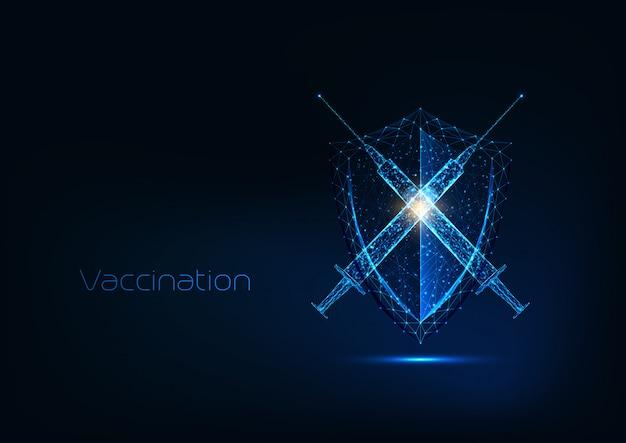 Conceito de imunização futurista com seringa poligonal baixa de brilho com escudo de vacina e proteção