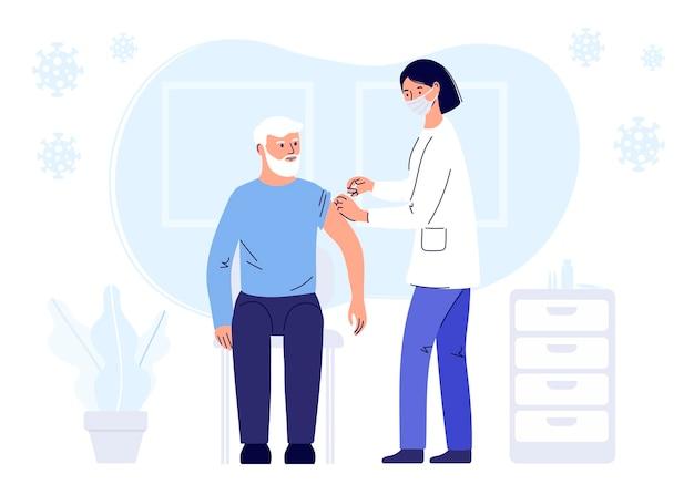 Conceito de imunização humana para saúde de imunidade covid19 uma médica usando um protetor