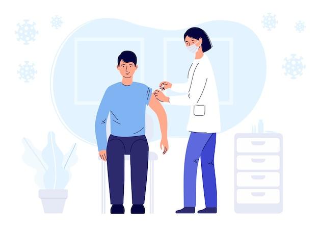 Conceito de imunização humana para vacinação de saúde de imunidade
