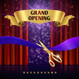 Conceito de inauguração com cortinas vermelhas. grande evento aberto com cortina vermelha e fita de corte doente