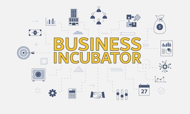Conceito de incubadora de negócios com conjunto de ícones com grande palavra ou texto no centro de ilustração vetorial