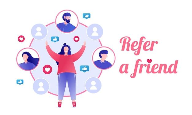 Conceito de indicação de amigo programa de indicação marketing de indicação indicando amigos