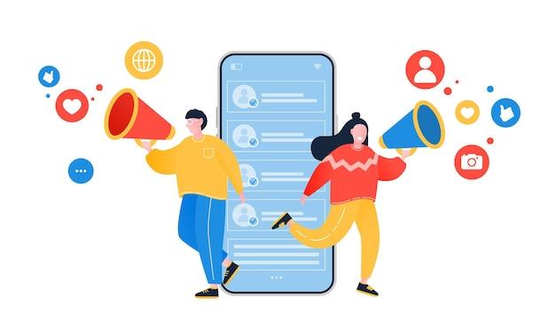 Conceito de indicação de um amigo as pessoas compartilham informações sobre indicações e ganham dinheiro marketing móvel