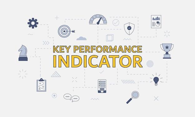 Conceito de indicador de desempenho chave kpi com conjunto de ícones com palavra grande ou texto na ilustração vetorial central