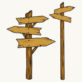 Conceito de indicador de seta de madeira e ponteiro em estilo vintage isolado