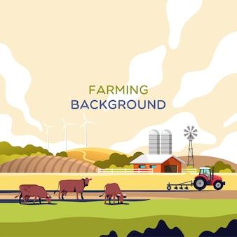 Conceito de indústria, agricultura e criação de animais. paisagem rural com espaço de cópia para o texto.