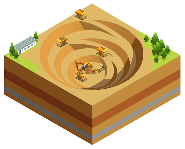 Conceito de indústria de mineração isométrica