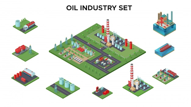 Conceito de indústria de petróleo isométrica