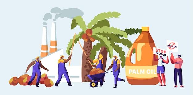Conceito de indústria de produção de óleo de palma com trabalhadores coletando frutas, fábrica de processamento com tubos que emitem fumaça, emissão de gás poluente, manifestantes com bandeiras de parada. ilustração em vetor plana dos desenhos animados