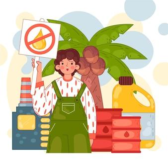 Conceito de indústria de produção de óleo de palma desenhada à mão