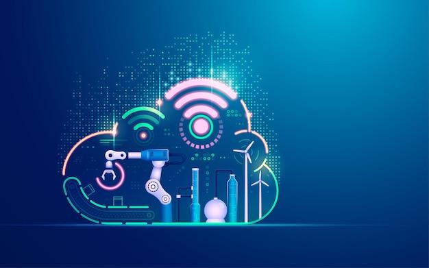 Conceito de indústria de tecnologia 4.0, sistema de automação com computação em nuvem