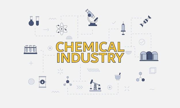 Conceito de indústria química com conjunto de ícones com grande palavra ou texto no centro de ilustração vetorial