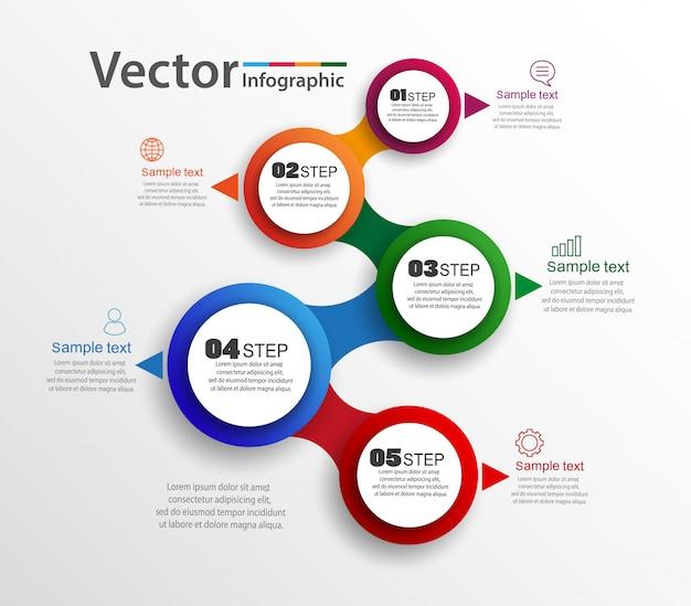 Conceito de infografia com 5 opções ou etapas
