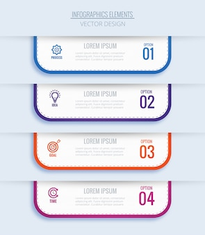 Conceito de infografia empresarial moderno com quatro etapas