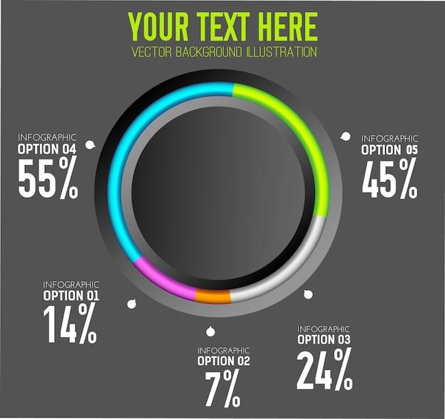 Conceito de infográfico da web empresarial com cinco opções de botão redondo e taxas percentuais