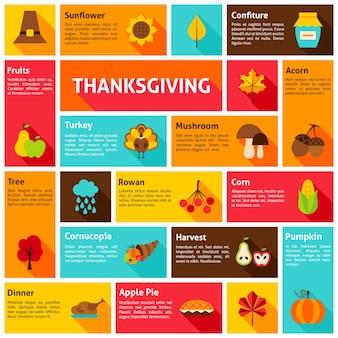 Conceito de infográfico de ação de graças. ilustração vetorial. ícones de férias de outono.