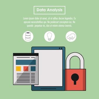 Conceito de infográfico de análise de dados com elementos